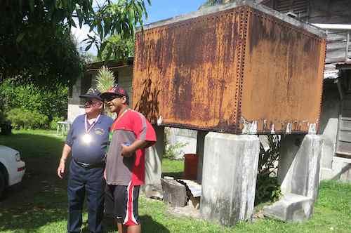 Posing with Saipan residents who've already heard of Lloyd's presence on island