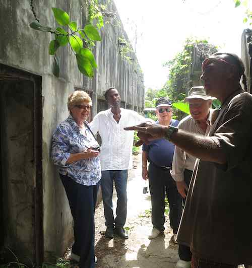 Judy, Walt, Lloyd, Dave and Jim at the Old Japanese Jail...Did Amelia Earhart spend her final days here on Saipan?