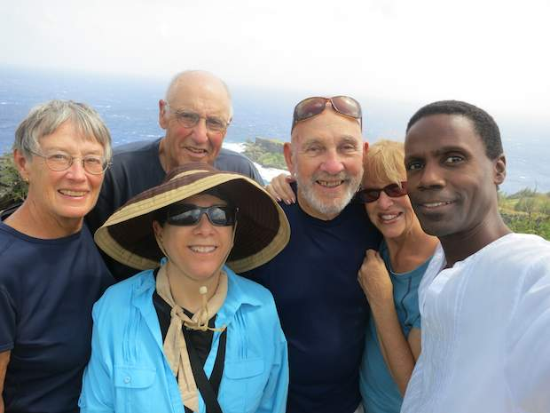 [photo of Del, Linda, Del, Patricia and Marcia on Saipan with Saipan tour guide Walt Goodridge]